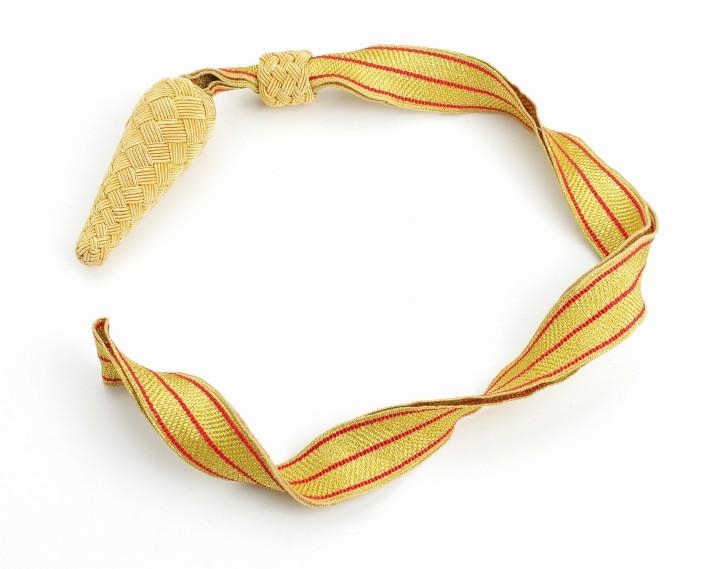 Portepee goldene Tresse mit 3 roten Streifen