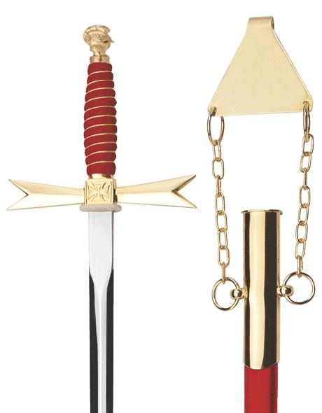 Logendegen roter Griff / mit Helm Knauf / ohne Ätzung / rote Scheide mit verg. Gehänge