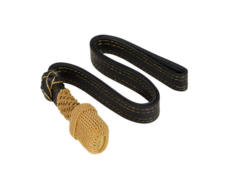 Portepee Gold / schwarzer Lederriemen