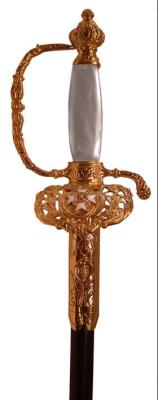 St. Silvester Orden Degen 24k vergoldet / Scheide mit  Beschlägen und Haken